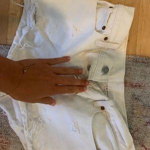 White Levi cutoff jean shorts!